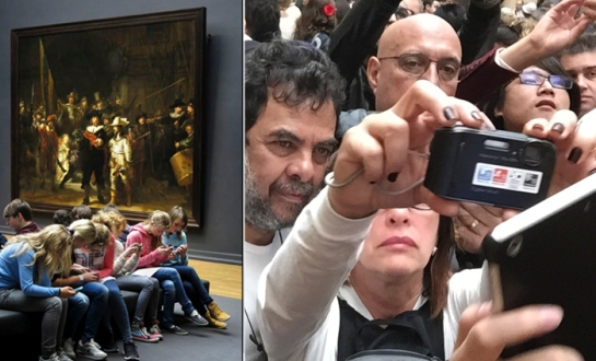 Left: Assembled school children in the Rijksmuseum, Amsterdam. Right: Assembled adults in the Louvre, Paris (Photography: Bonnie SIegler)