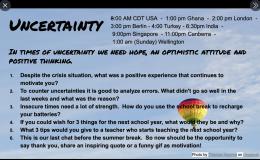 Uncertainty into teachers' work – a Twitterchat!